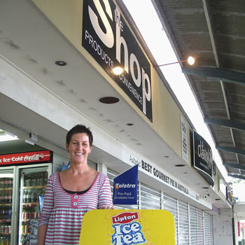 Gaye Williams from The Shop convenience store had the esplanade to herself on Monday. Photo: Mike Garry/scw806b
