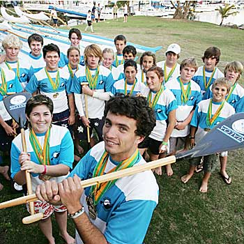 Andrew McAleenan and Jami Hamilton starred in the Mooloolaba under 19 years outrigger team at the National Sprints while their junior Mooloolaba outriggers cleaned up a swag of medals also. Photo: Chris McCormack