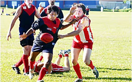 SHOWS PROMISE: Nimbins Joey Walker, 16, gets his kick away in a recent SAFL game against Lismore.