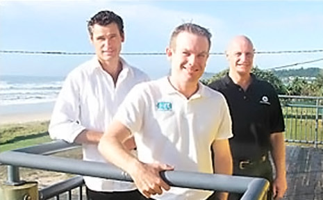New members of the Lennox Head Chamber of Commerce David Hurst (centre) of Rescuetech and Gary Wills of Taxpresso, with member Robert Stutfield (far right) of the Telstra Shop, discuss the chamber's upcoming projects.