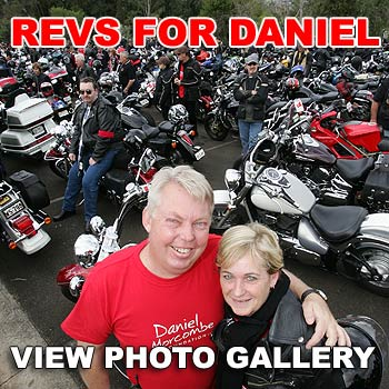 The parents of missing Palmwoods boy Daniel Morcombe, Bruce and Denise, with some of the 6000-plus motorbike riders who took part in this year's Ride for Daniel event. Photo: Chris McCormack.