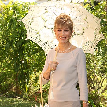 Helene Duval designs and sells parasols from her Landsborough home. Photo: Nicholas Falconer/175232