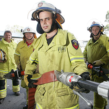 Caloundra firefighters (left to right) Craig Hogarth, Phil Butler, Phill Williams and Russel Weir - part of the team that came third in the recent Australasian Rescue Challenge. Photo: Chris McCormack/175197