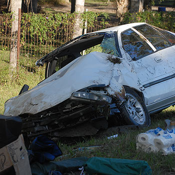 A woman was hurt after rolling her car on Mooloolah Connection Road. Photo: Warren Lynam/175409