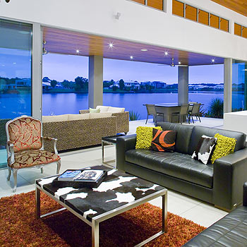 The open-plan living area in Linda and Barry Ulyatt's Twin Waters home makes the most of the stunning view.