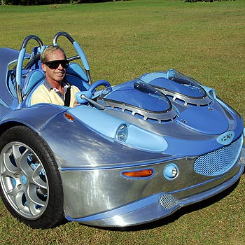 Noosa-based concept car enthusiast Brad Bonning in his roadster. Photo: Geoff Potter/ n20739e