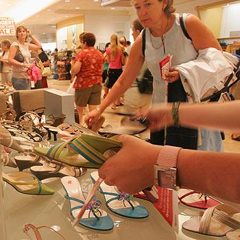 Shoppers flock to Myer for its annual stocktake sale at the Sunshine Plaza. Photo: Brett Wortman/bw152592v