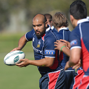 The Auckland Rugby Union team, in training at Kawana's Stockland Park, gets ready to tackle the Queensland XV tomorrow night. Photo: Warren Lynam/175443