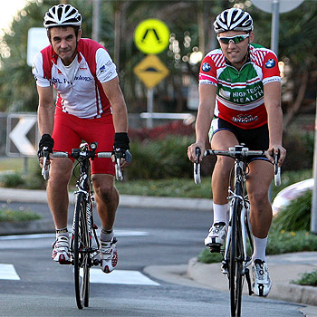 Combining a social life with exercise is a growing trend on the Coast, especially among professionals and office workers. Dave Wighton and Evan Pilkington cycle up to the cafes at Mooloolaba after their 25km morning ride. Photo: Nicholas Falconer / 174769a6