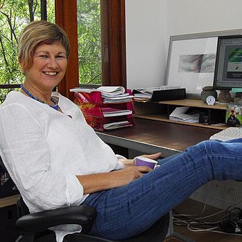 Ellen Vasiliauskas has joined the Coast's knowledge economy at her home office in Doonan. Photo: Che Chapman/n20519b
