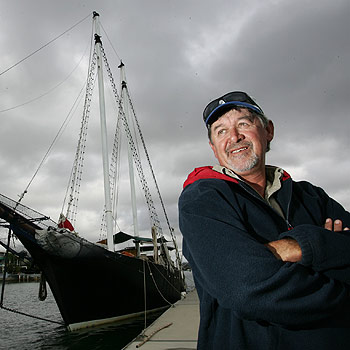 Robin Cooke with his boat The Joshua C, which is now moored at the Mooloolaba Marina. Photo: Chris McCormack/175507a