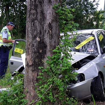 The scene of an accident on Savilles Road at Nambour where an elderly woman died. Photo: Jason Dougherty/175494a