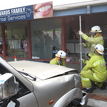 A 4WD crashed through the front of Edwards Family Dental Services at Maroochy Waters Shopping Complex. Photo: Michaela O'Neill/ 175506