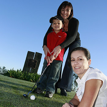 Bill Bell, four, with his aunty Lisa Aitken and mum, Jane Bell (foreground), who are holding a charity golf day at Pelican Waters as part of the Give Me 5 For Kids fundraiser. Photo: Barry Leddicoat/175534