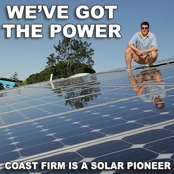 The roof of Caloundra-based solar power company Latronics is stacked with solar panels. Photo: Brett Wortman/175185