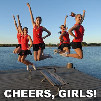 Members of the cheerleading squad, which includes Alice Bogusz, Emma-Jo Stewart, Brittany Goodwin, Danielle Schmidt, Gillian Lewis and Savannah Burkin, celebrate their win.  Photo: Warren Lynam/175607