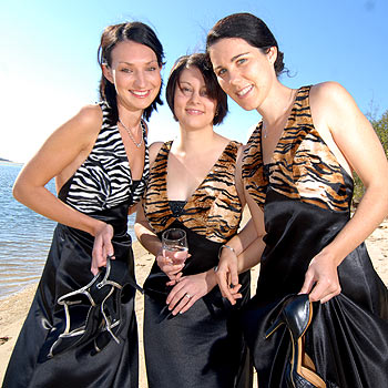 Reed Property Group's Sandy Harris, Sharna Grand-Court and Jaclyn Martin will be selling raffle tickets at the Africa-themed Reed Charity Ball. Photo: Warren Lynam/175653