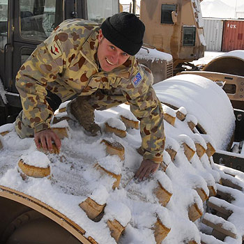 Army Lance Corporal Gabriel Stewart is also plumber from Yandina, who is able to use his skills to benefit the people of a very chilly Afghanistan.
