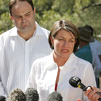 Premier Anna Bligh and Minister for Natural Resources Craig Wallace visited Hibiscus and Tripcony Caravan Park in April to announce the existing lease would be renewed. Photo: Brett Wortman/bw174344q