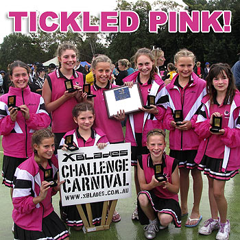 Coolum's victorious netballers celebrate their win at the state titles. Back row: Michaela, Gabriella, Aimee, Abbey, Alex and Ocean. Front row: Pip, Alice and Zoe.