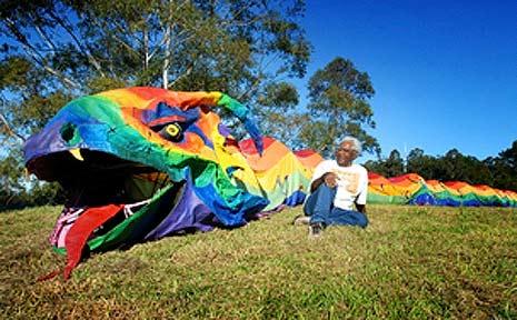 Gumbaynggirr elder, Uncle Larry Kelly, with the reborn Rainbow Serpent.