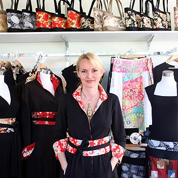 Eumundi designer Deborah Baker in front of a selection of her Abakus designs.