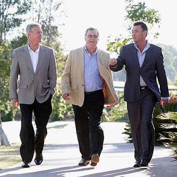 Lew Brennan, Simon Gamble Macquarie and Sean Rothsey at the National Stock Exchange seminar at Peregian Springs Golf Club. Photo: Cade Mooney/175689