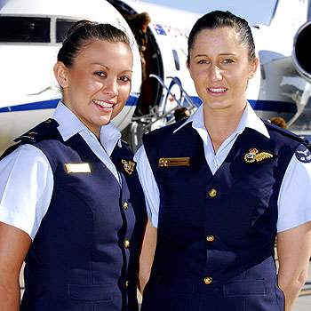 Former Nambour High School students Nadine McReady, 19, and Natalie Oakes, 22, are now based in Canberra as members of the RAAF's 34 Squadron — the Air Force's VIP aircraft.