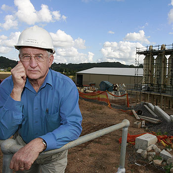 Biocane chairman Scott Grimley stands in front of the Cow Candy factory at Bli Bli. Construction of the factory has been forced to halt due to a lack of funding. Photo: Barry Leddicoat/175836