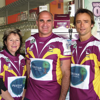 Peregian Beach Hotel manager Carol Gleeson, State of Origin legend Dale Shearer and hotel duty manager Daniel Thomson celebrate the Colts sponsorship deal. Photo: scw876/Mike Garry