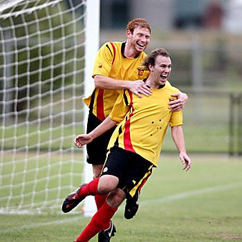 Football at Stockland Park, Sunshine Coast Fire FC v Redlands FC.  Ben Knight and Michael Scarff both scored goals