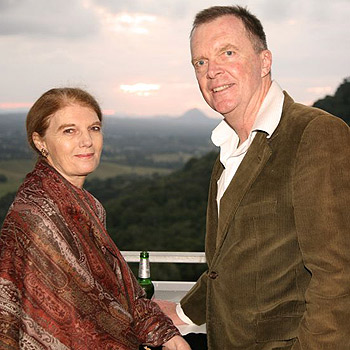Queensland's Governor-in-waiting Penelope Wensley with art collector and owner of Noosa Blue Resort Phillip Harding at the opening of the 'My Country Two' exhibition at The Studio, Cooroy, on Friday night. Photo: Katja Anton/175898