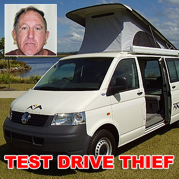 Police are searching for Ian Robert West, inset, who is believed to have stolen a VW campervan on the pretense of taking it for a test drive, and not returning it to the Queensland Campervans lot in Wurtulla.