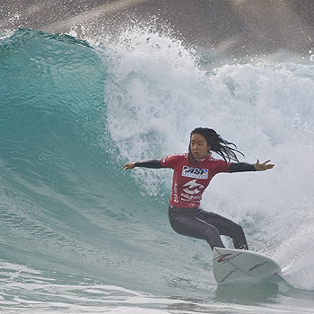 Sunrise Beach surfer Naomi Stevic finished runner-up in her age group at the Billabong Occy Grom on the Gold Coast. Photo: Steve Robertson/Surfing Australia