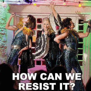 Christine Baranski as Tanya, Meryl Streep as Donna and Julie Walters as Rosie in the movie Mamma Mia.