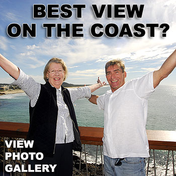 Councillor Vivien Griffin and ex-councillor Bruce Dunne opened a new observation deck at Coolum's Point Perry. Photo: Che Chapman/176993