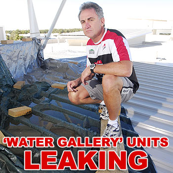Peter Sanday owns one of the Water Gallery units, which leak every time it rains. Photo: Che Chpamn/176946