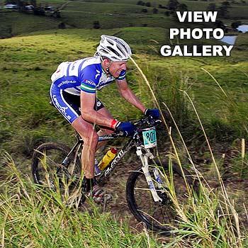 Bradley Nightingale of Brisbane cycles through the Pomona hills in the Noosa Enduro 50km race. Photo: Geoff Potter/n21095c
