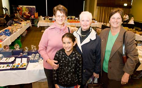 Claire and Justyce Pengilly of Westbrook, Margie McKay of Augathella and Lorraine Sargood of Highfields at the Australian Psychic Expo at City Golf Club.