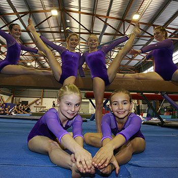 Maroochy gymnasts who starred at the state titles included Elysa Carr, Phoebe Kenafake, Katherine Lawrence, Ella Kenafake, Brooke Bevis and Siarn O'Neill. Photo: Barry Leddicoat/177001a