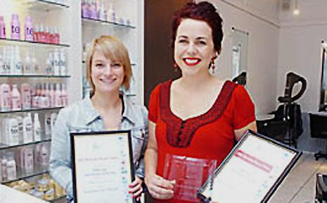 Apprentice of the Year finalist Lauren Parrington (left) with her employer, Sally Clarke, of Ballina's Headroom salon.