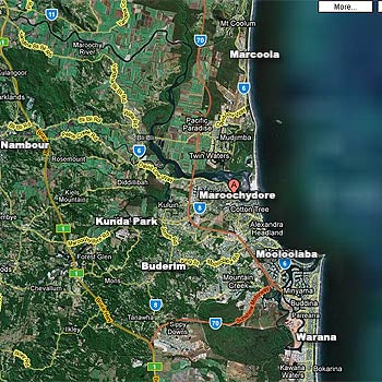 A screenshot of the Sunshine Coast, as it appears on Google Maps' satellite images.