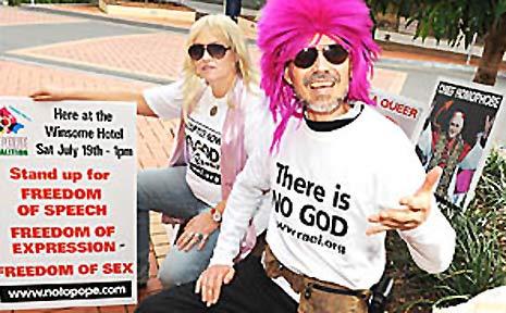 NoToPope Coalition members Tara Euphoria Infinity Blackman and Alcy Infinty in Carrington Street, Lismore.