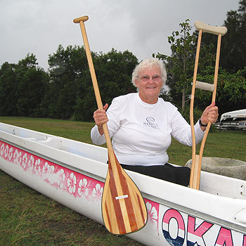 May Woodward, 72, loves to go paddling in an outrigger canoe, especially as it enables her to do some 'above the waist' exercise that doesn't affect her fractured leg. Photo: courtesy Sunshine Coast Regional Council.