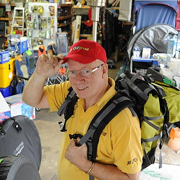 Beerwah Camping Centre's Peter Moller loads up some supplies to show off at the Farm Fantastic. Photo: Warren Lynam/177072
