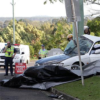 The scene of the fatal single-vehicle accident at Currimundi. Photo: Michaela O'Neill/177123