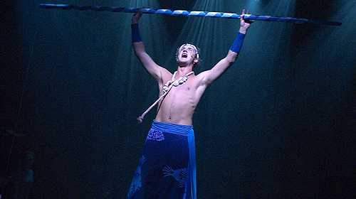 Zack Curran performs in a production of Once On This Island. Photo: Jon Green