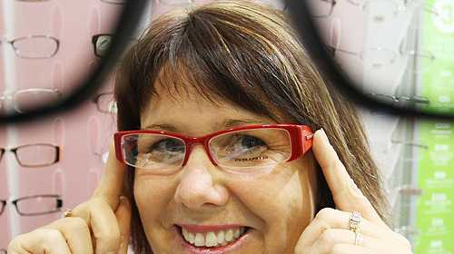 Karen Francis tries on some Specsavers styles for size.