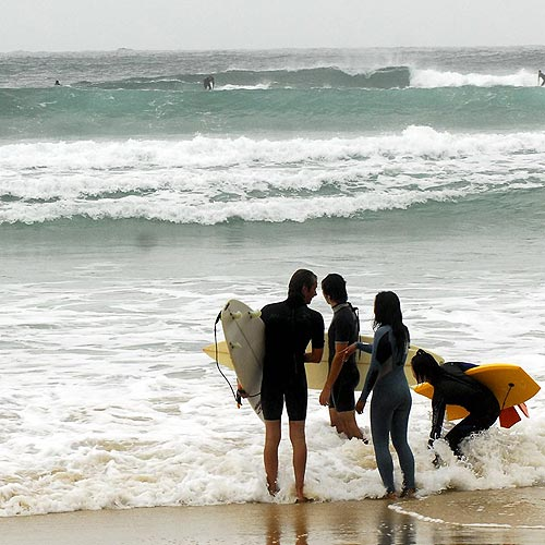 Surfers check out Noosa's points as the swell builds. Photo: Che Chapman/n21181b