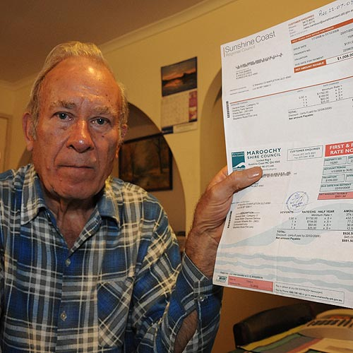 Kureelpa's Colin Baber, 73, is shocked that rates for his Mapleton rental property have gone up 31%.  Photo: Brett Wortman /177214